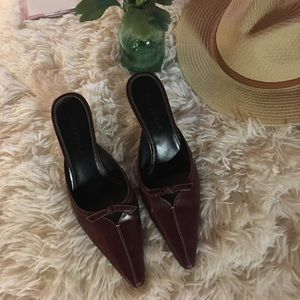 COLE HAAN - wine/color mules with a bow.😘